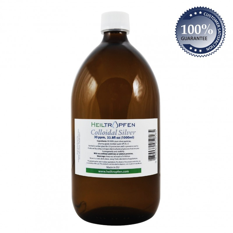 Colloidal silver, 30ppm, 1000ml (33.8 fl oz)